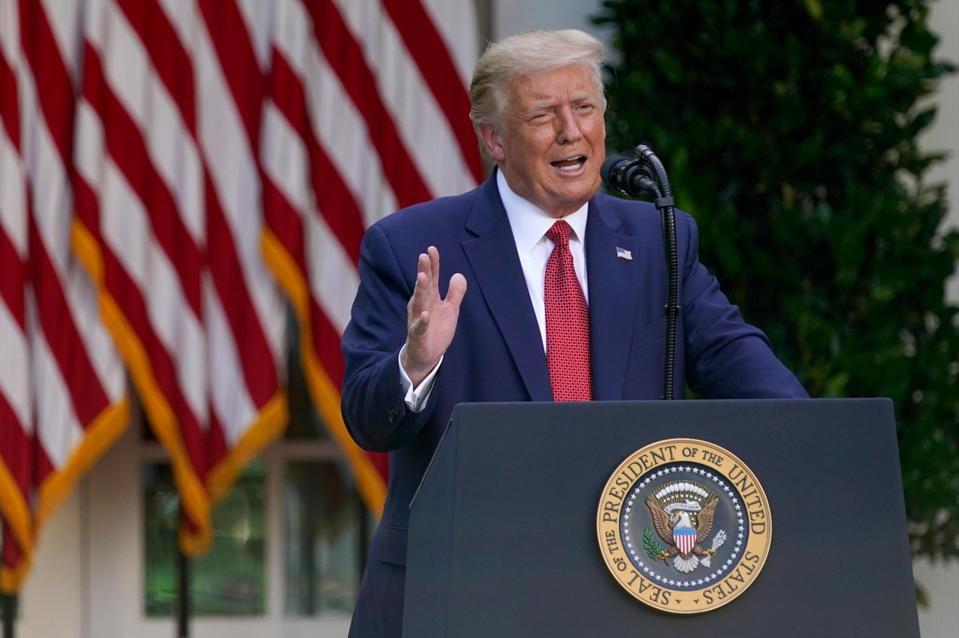 President Donald Trump speaks.