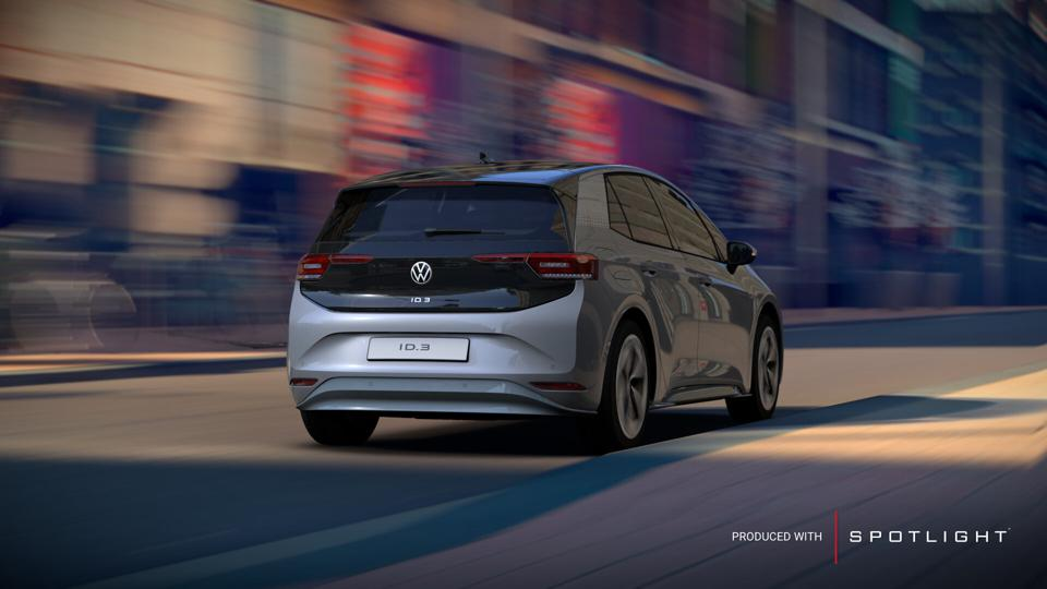 Rear-three-quarter view of a 3D rendering of a Volkswagen ID.3 electric car, made by ZeroLight