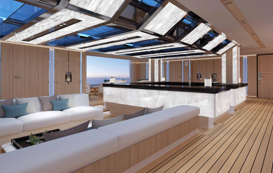 Inside the Beach Club on the Heesen Yachts Cosmos 80m