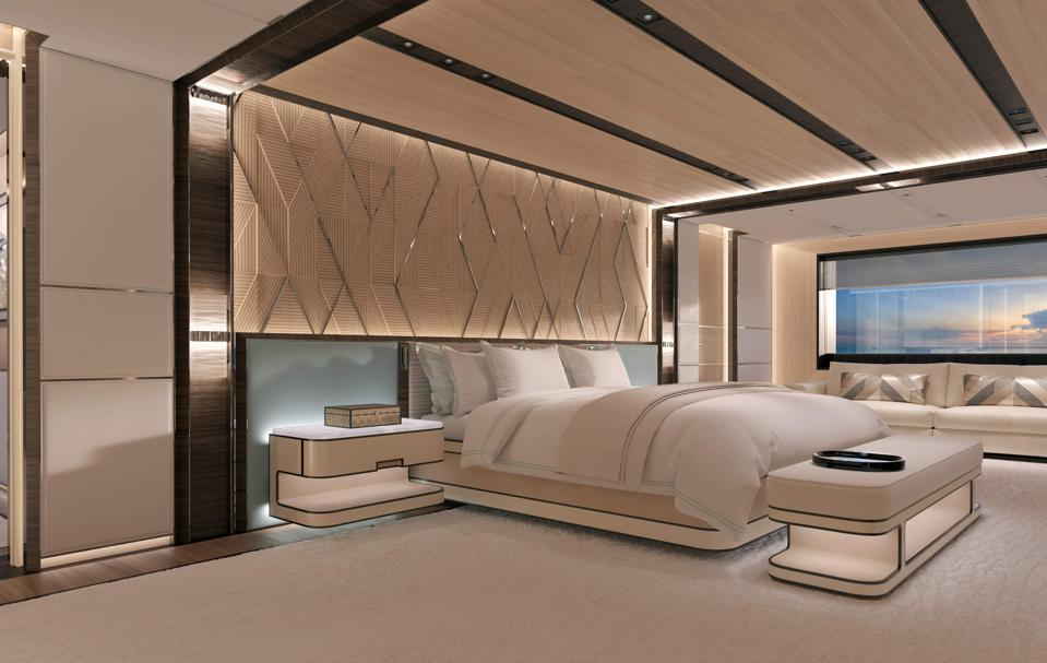 Inside the master stateroom on the Heesen Yachts Cosmos 80m