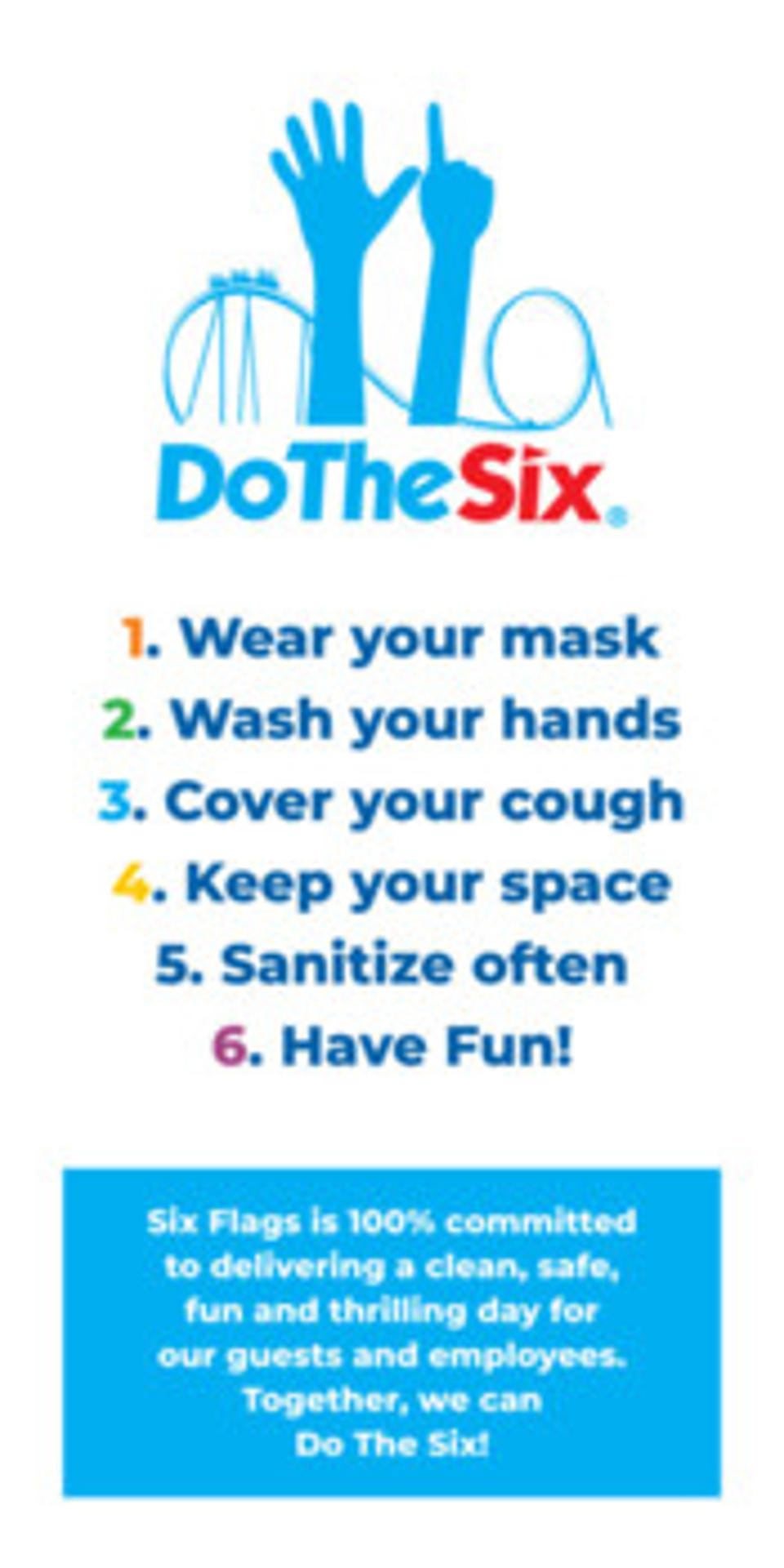 Sign describing the six ways to stay safe while at the park.