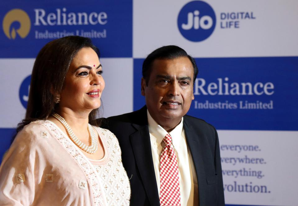 Mukesh Ambani with his wife, Neeta Ambani