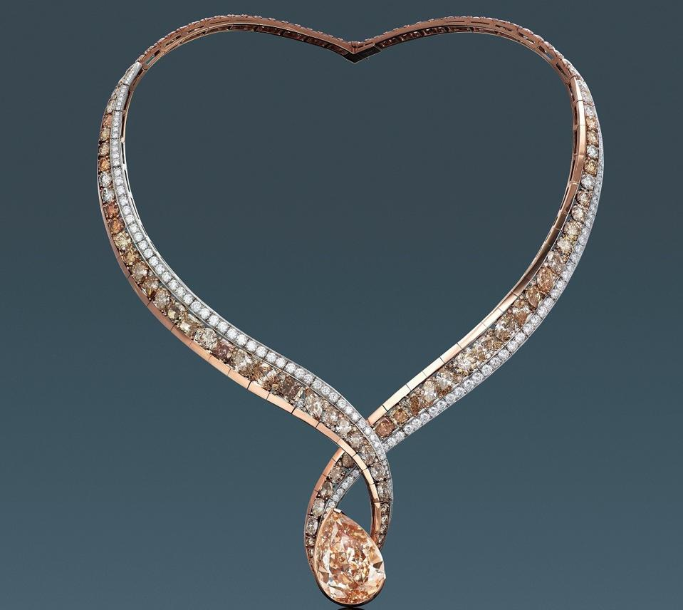 Alrosa Diamonds That Care by ANNA HU necklace with 27.02-carat. fancy brown-yellow diamond