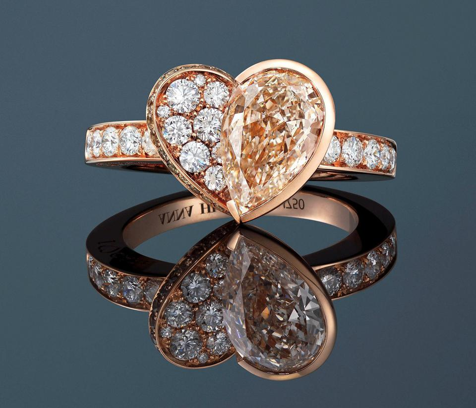 Alrosa Diamonds That Care by ANNA HU ring with 1.59 carat faint brown diamond