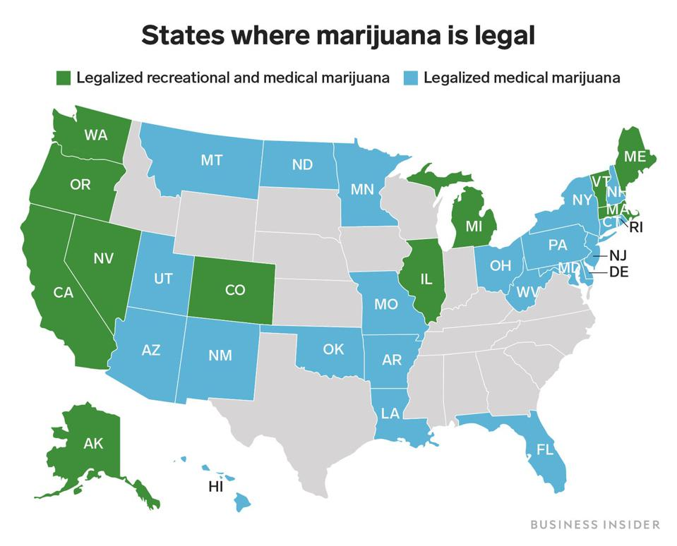 Map of the United States. Map is color coded. Map shows legal cannabis states.