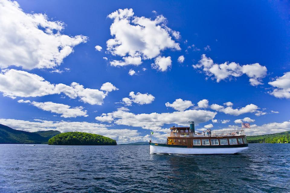 a boat on lake George.