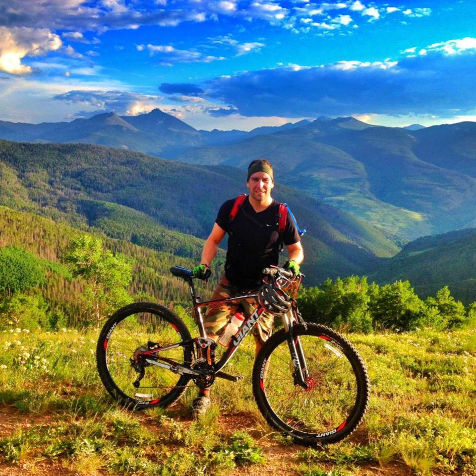 Guillaume on his mountain bike