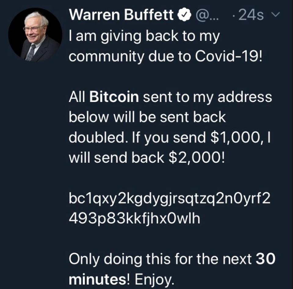 A Twitter scam on Warren Buffett's account