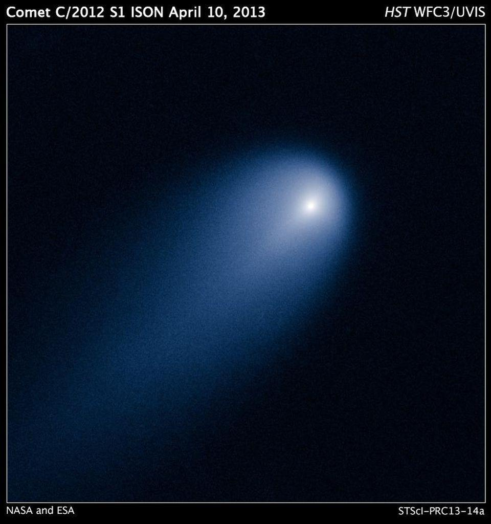 Comet ISON, imaged in 2013 by Hubble, shows a coma and ion tail only.