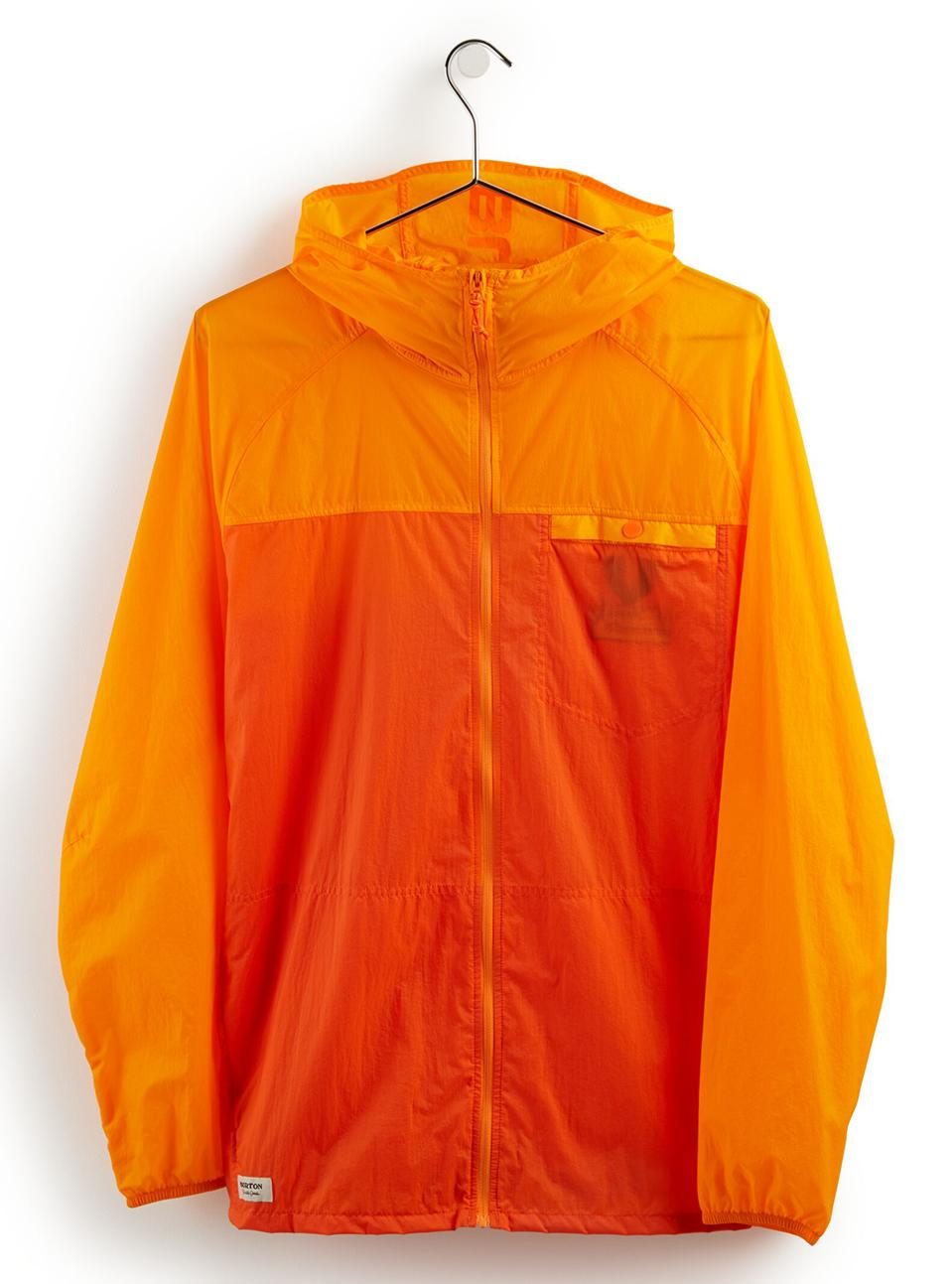 This ultra lightweight shell will protect you from those random summer rain showers, and stores conveniently and easily in it's own pocket, so life doesn't have to start and stop with the weather.