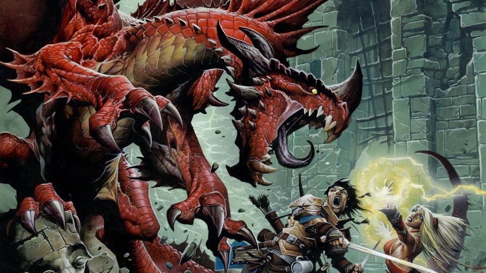Adventurers battle a dragon