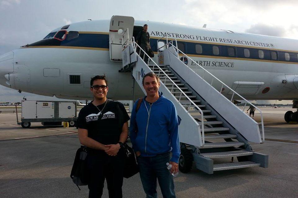 Jose Martinez Claros (left), with Rob Rogers, NOAA hurricane hunter, in June 2017.