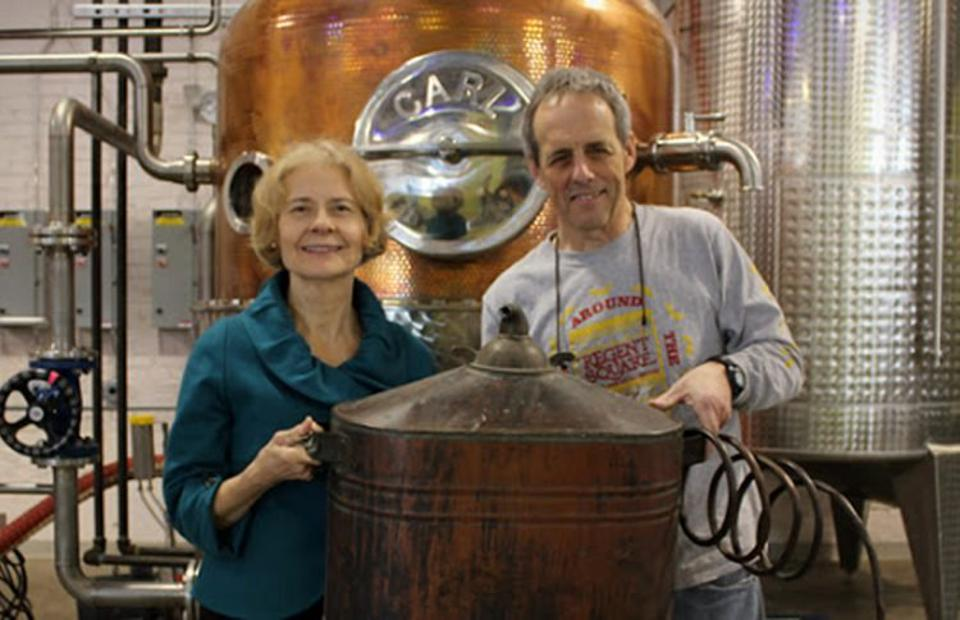 Mary Ellen and Mark Meyer at their distillery