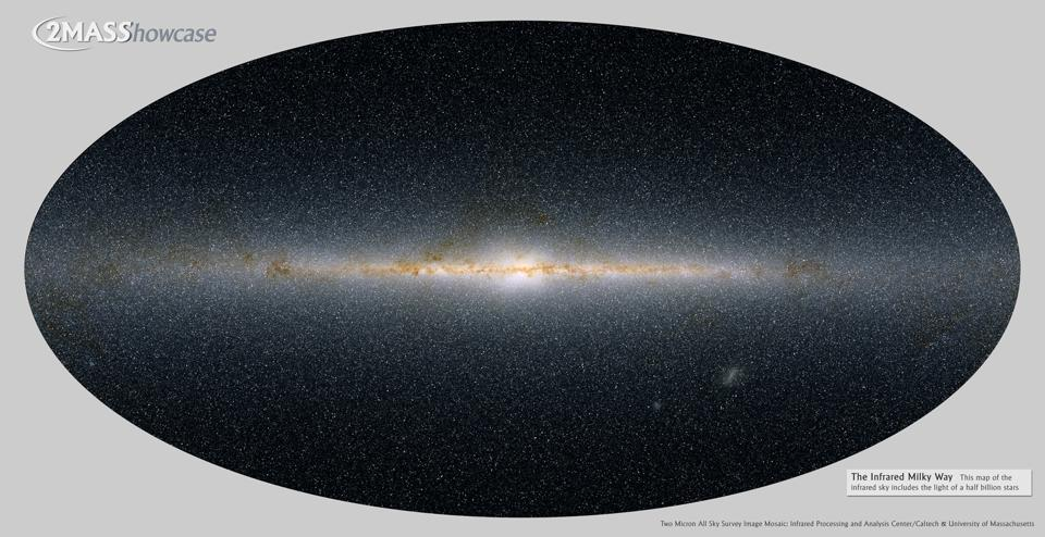 Two micron all sky survey image of the infrared Milky Way, revealing its spiral structure.