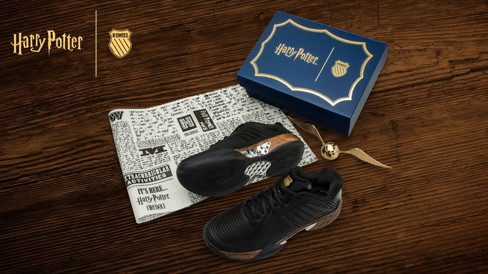 printed logos and a Surgelite midsole wrapped in wood grain print complete the Firebolt-inspired sneaker!