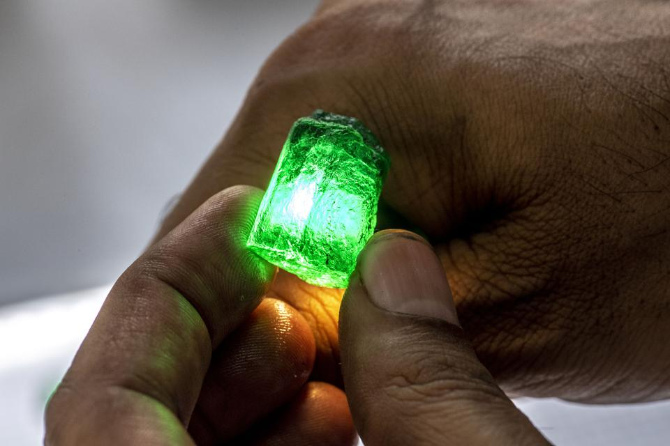 A Gemfields emerald in the rough at the Sort House in the Kagem Mine.