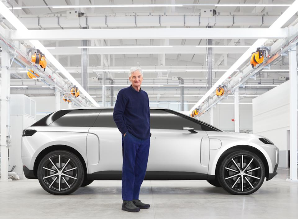 Billionaire Sir James Dyson and his electric car