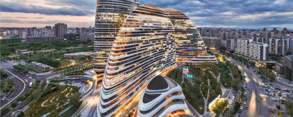 The office building of Beijing Galaxy SOHO China stock photo
