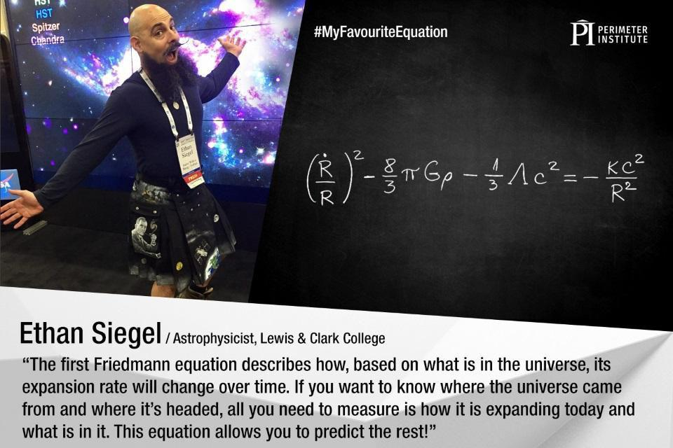 Ethan Siegel at the American Astronomical Society's hyperwall, with a Friedmann equation.