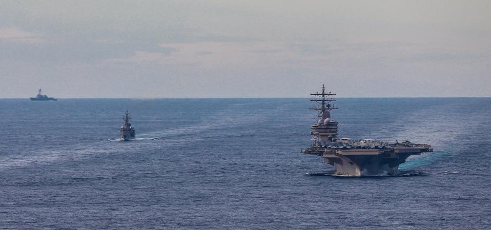 Nimitz-class aircraft carrier USS Ronald Reagan (CVN 76) in the South China Sea
