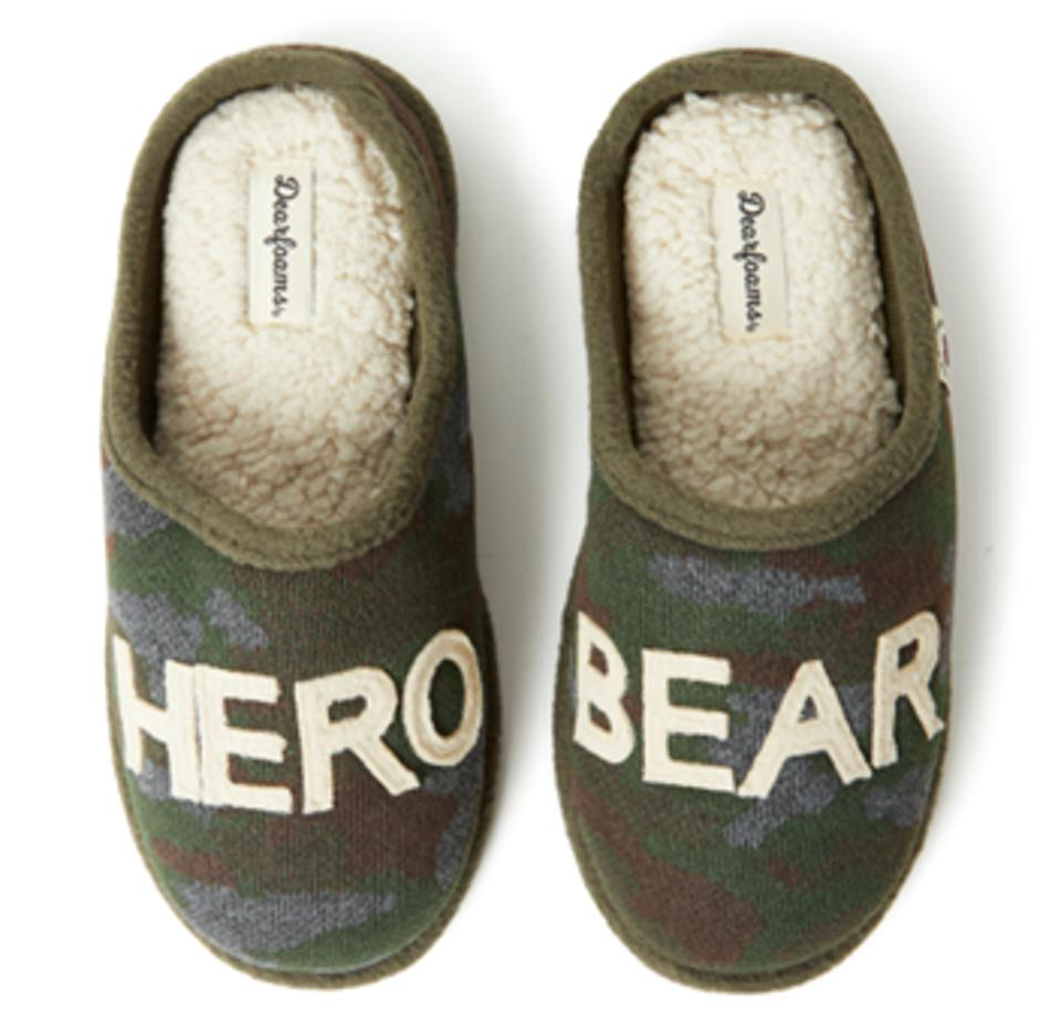 Dearfoams' limited edition capsule collection Hero Bear slippers with memory foam insole and easy on-off silhouette, celebrating your everyday heroes