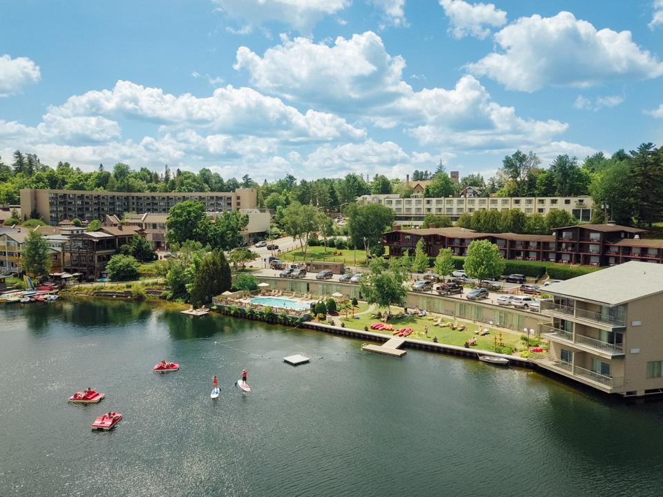 High Peaks Resort overlooks Mirror Lake.