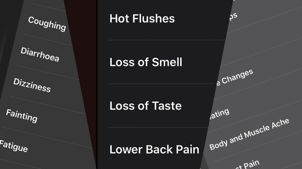 A composite of screenshots from the Symptoms section of the Apple Health app.