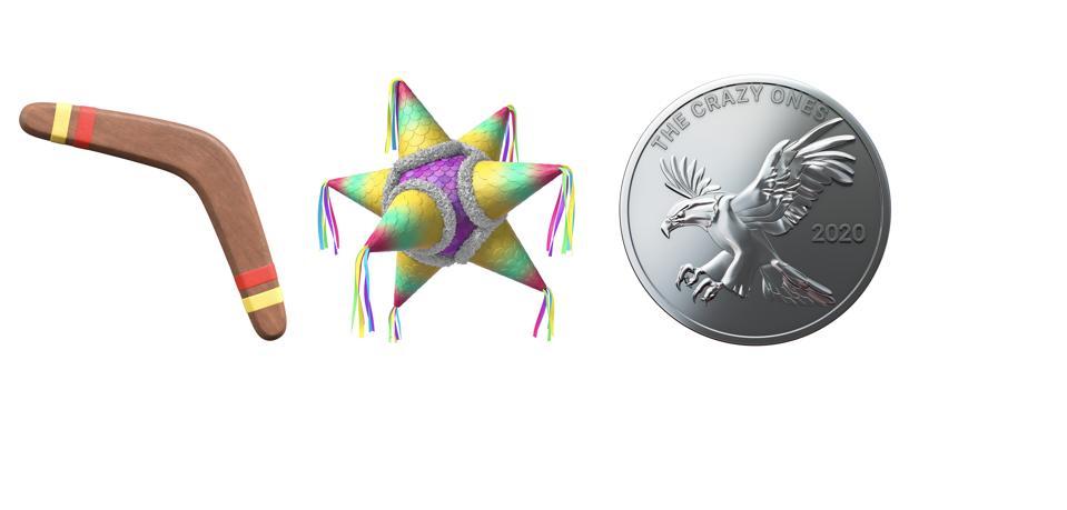 Boomerang, pinata and coin emoji