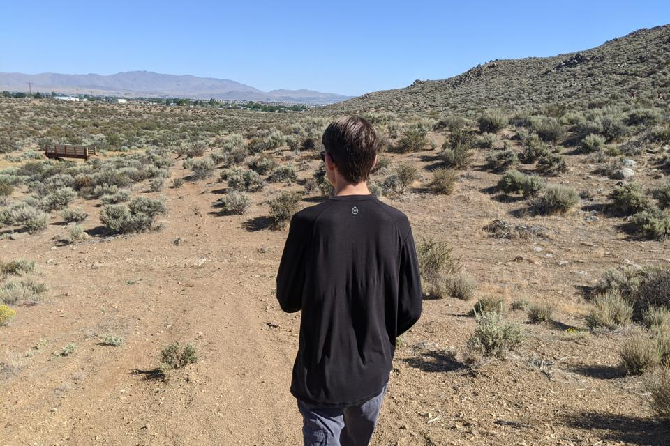 The author's son, Aren Elliott, on an unnamed trail in North Reno, Nev. You can hike this summer without getting infected. But you have to be careful.