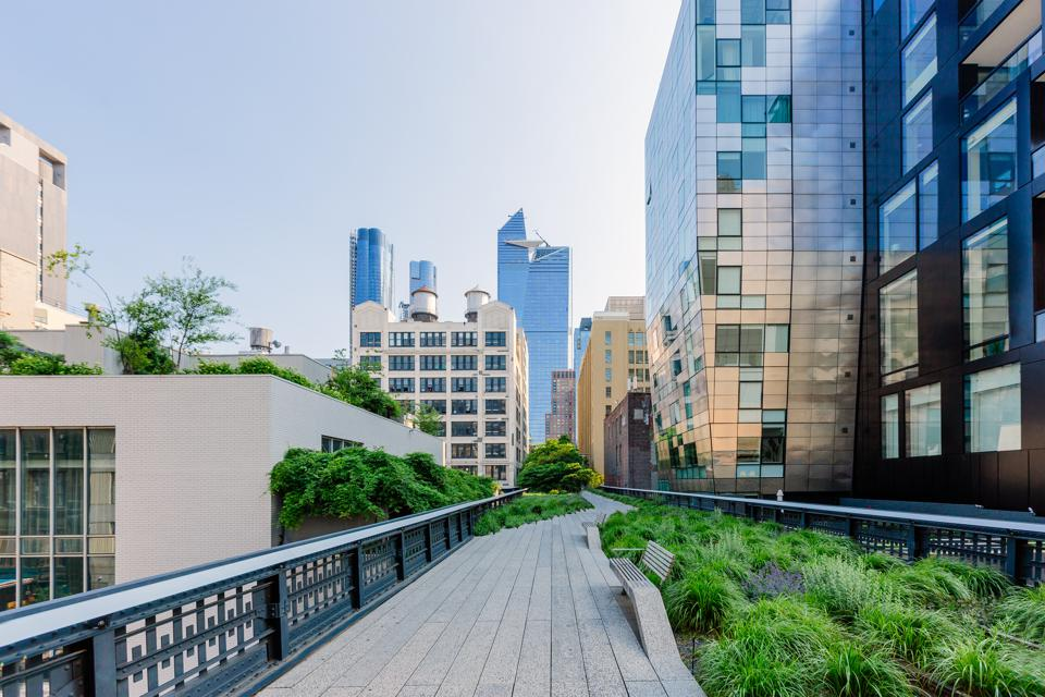 High Line Park and skyscrapers of Hudson Yards, New York City, USA