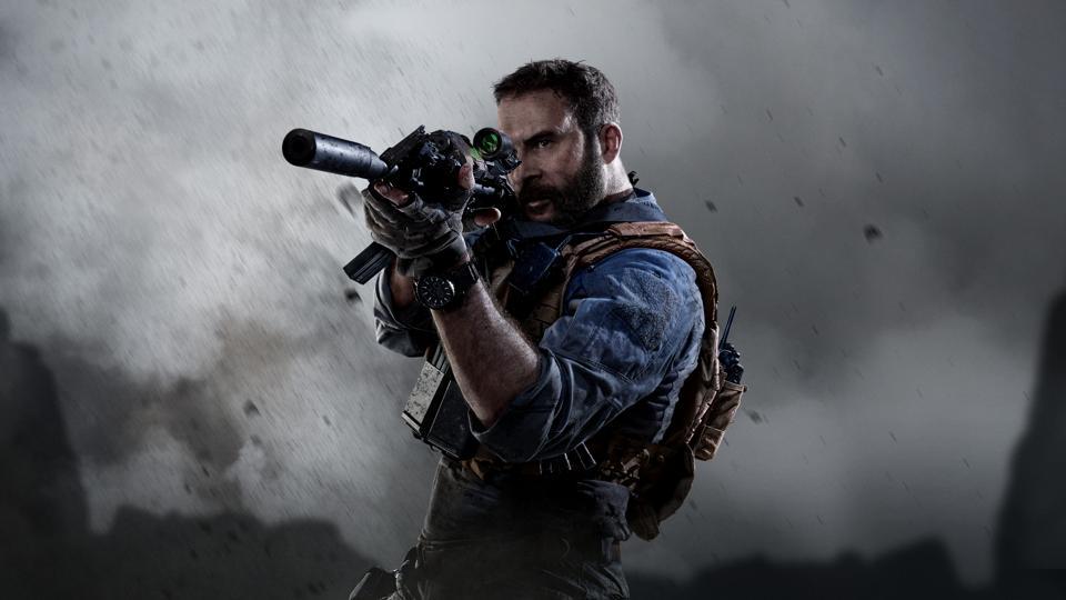 A soldier raises his gun in Call of Duty Modern Warfare.