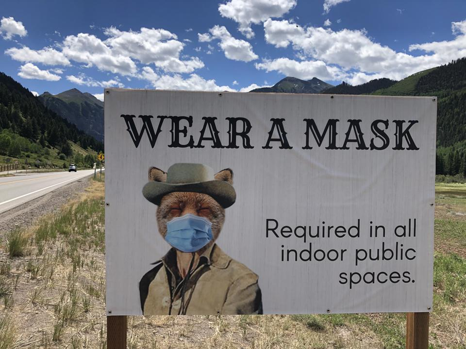 Sign with marmot in Telluride, Colorado encourages locals and visitors to wear masks.