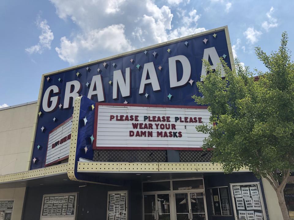 Granada Theater in Lawrence, Kansas urges ″Please please please wear your damn masks.″
