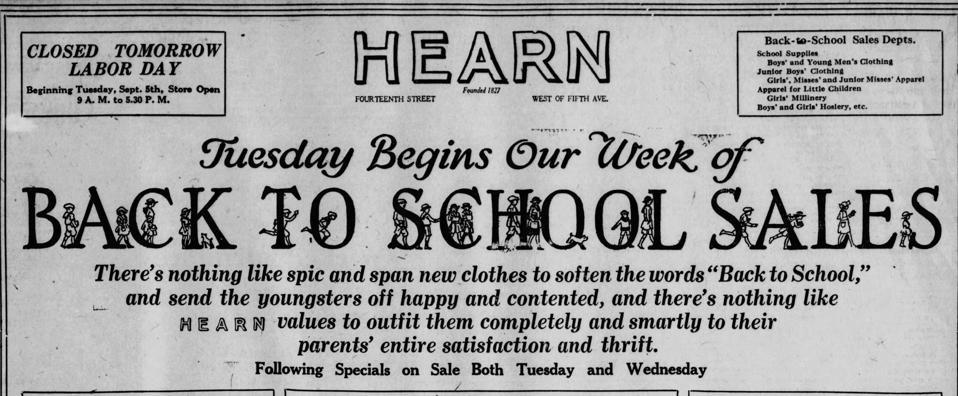 Hearn's New York Back to School
