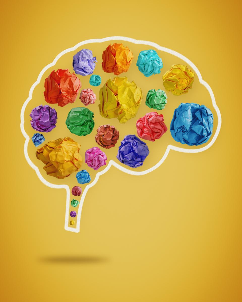 Creative Mind. Colorful Crumpled Paper Balls in Brain Shape