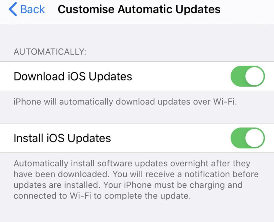 Apple iOS 13.6 customise automatic updates
