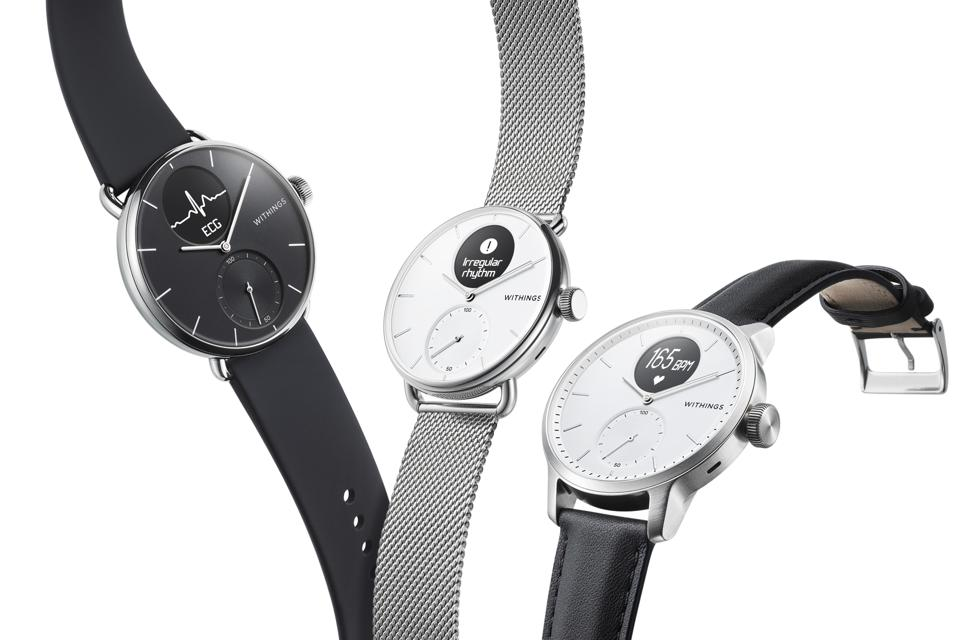 Withings ScanWatch comes with different color face options and straps.