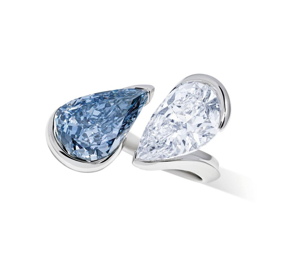 A blue and white diamond ring by Reza with an estimate of $8.5 million - $12.8 million