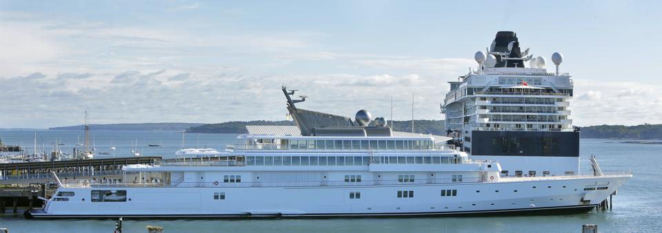 David Geffen's yacht Rising Sun dwarfs everything on the water excepy cruise ships (Photo by Gregory Rec/Portland Press Herald via Getty Images)