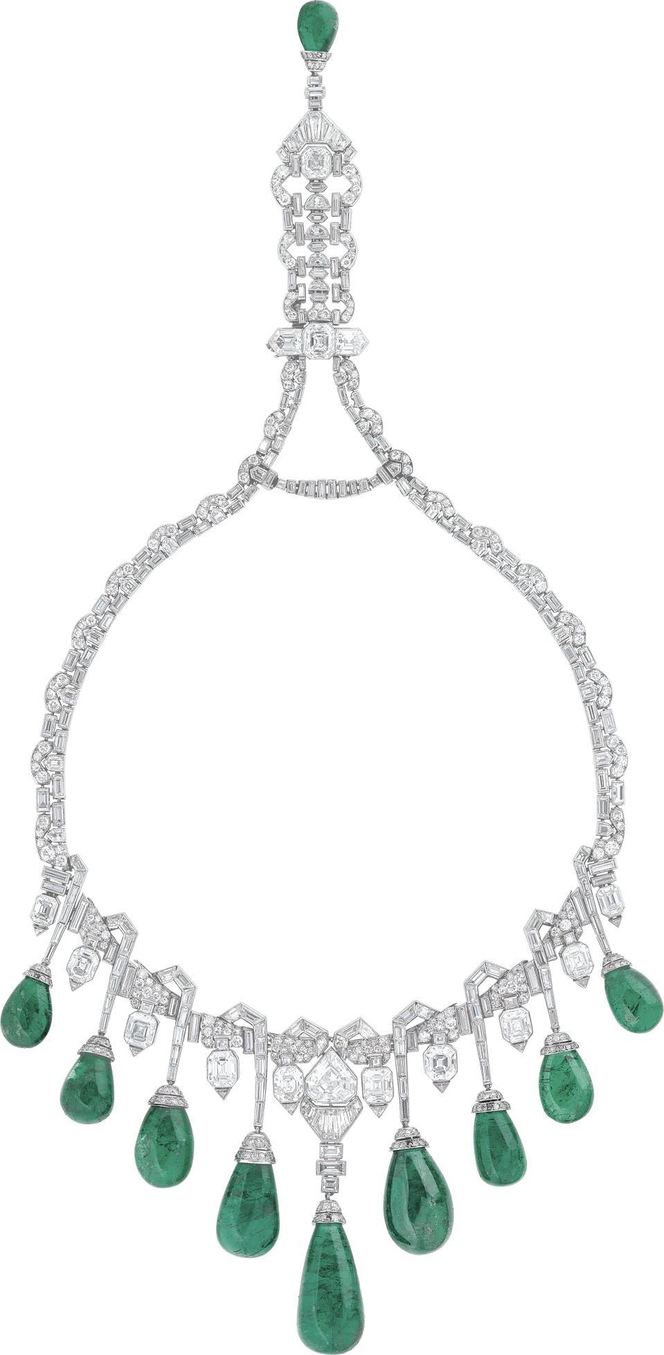 The original Van Cleef & Arpels Merveille d'émeraudes necklace owned by Princess Faiza Rauf