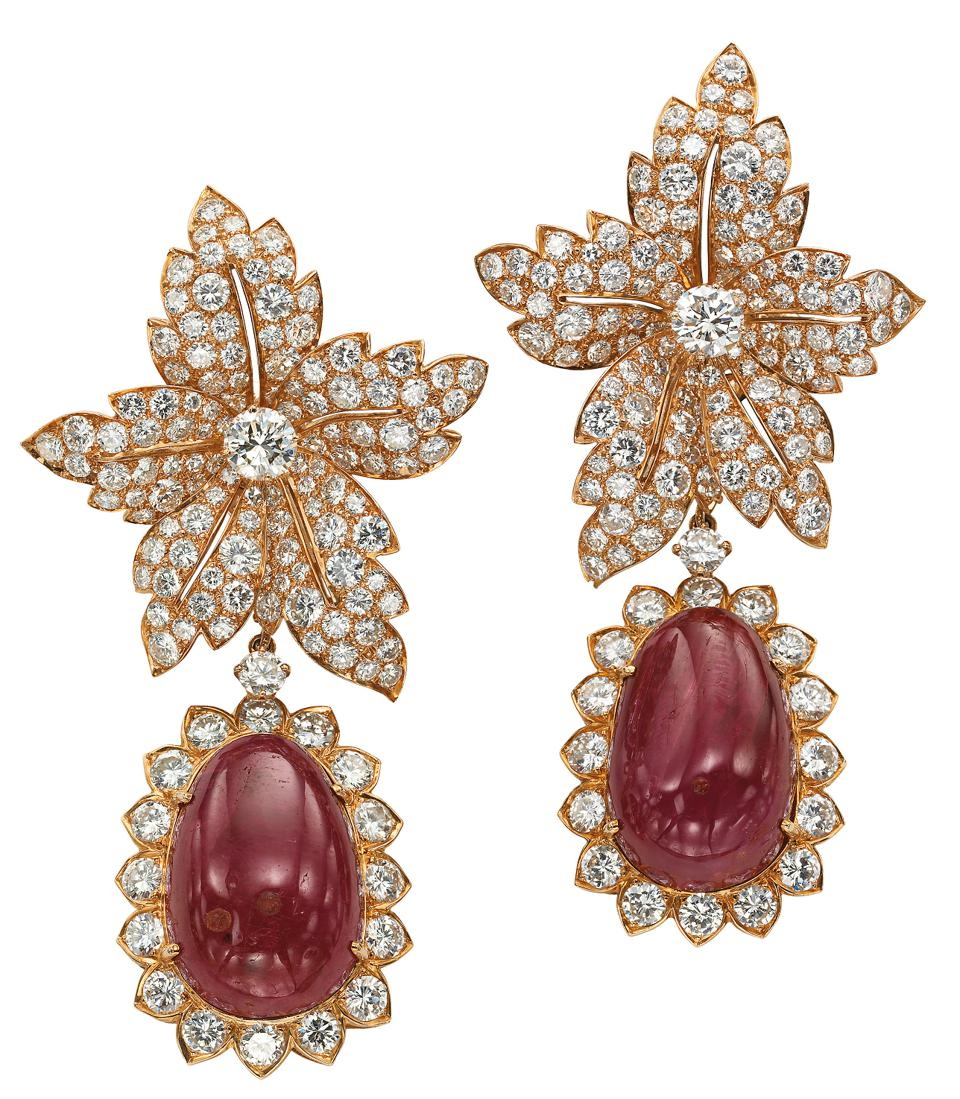 Gold, diamond and ruby earrings by Van Cleef & Arpels owned by Jacqueline Kennedy-Onassis