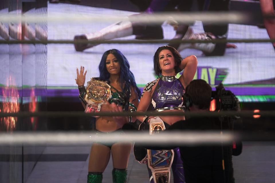 Sasha Banks and Bayley hold all the gold for now.