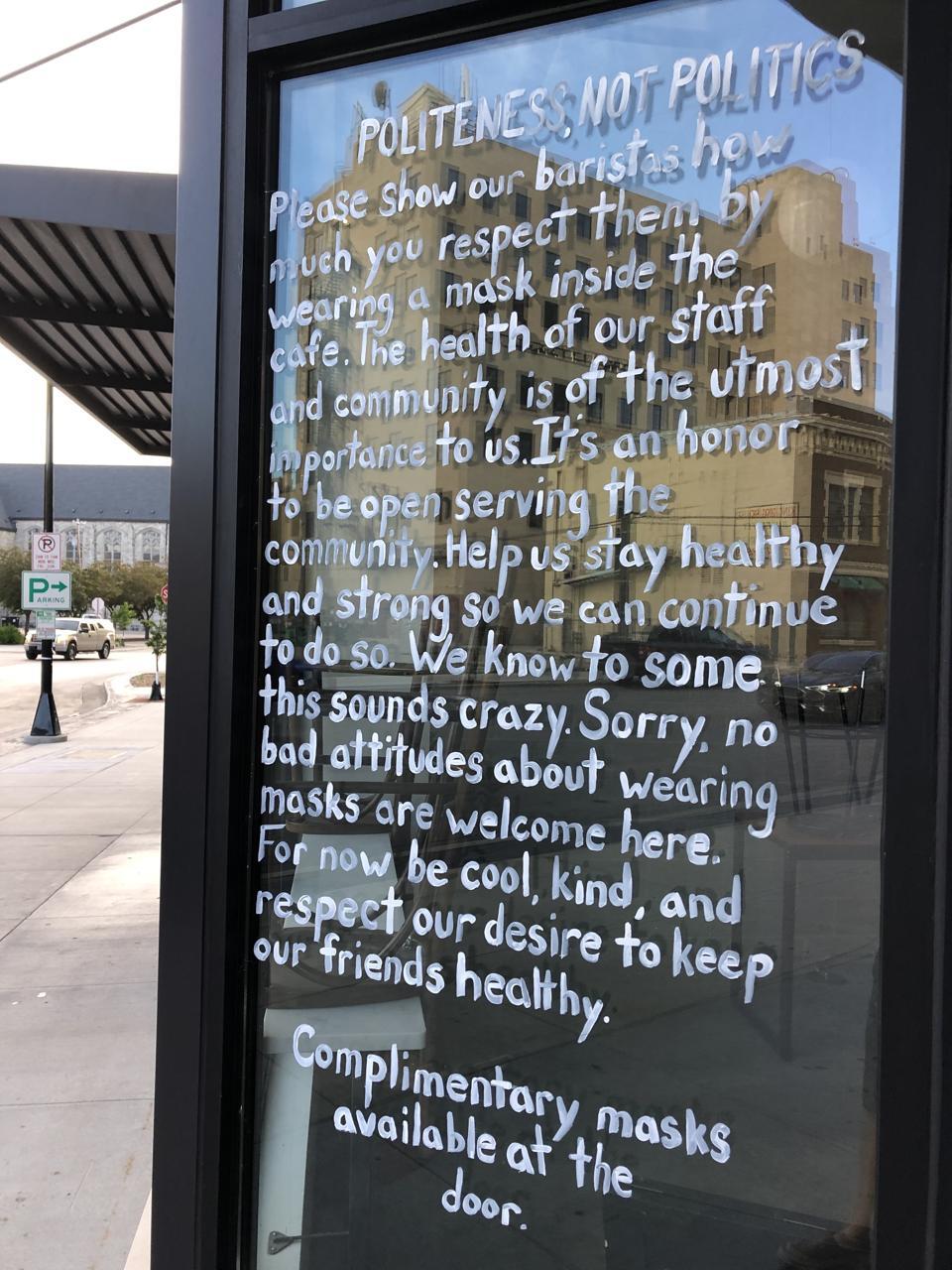 ″Politeness, not politics″ is the message at a Fargo, North Dakota coffee shop.