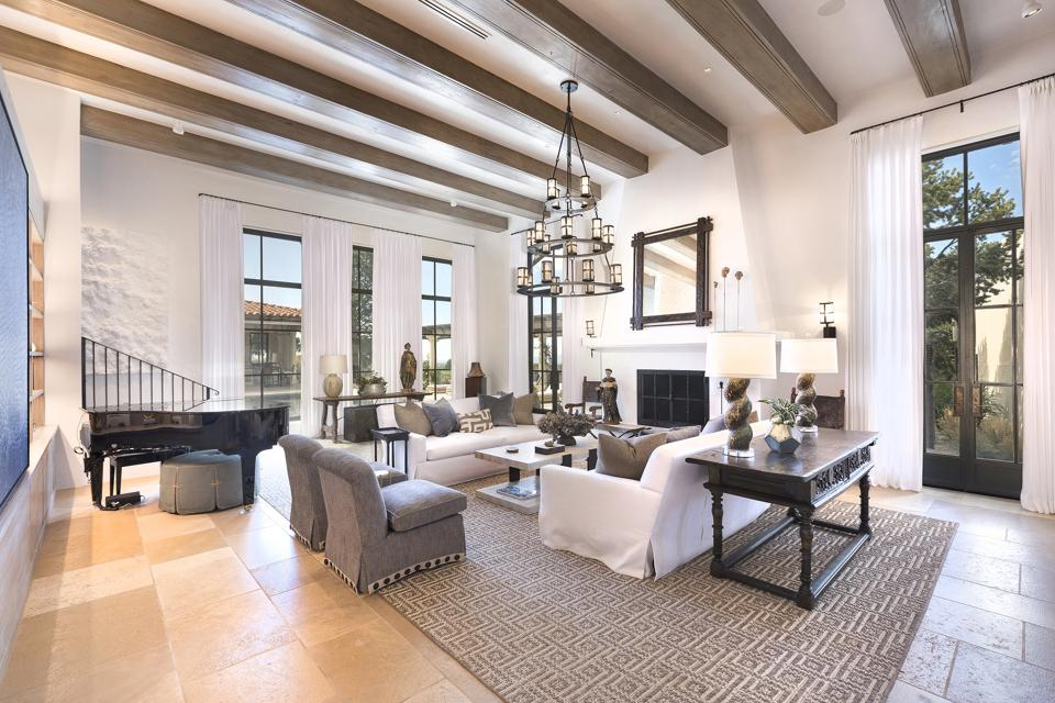 Living room with beamed ceiling