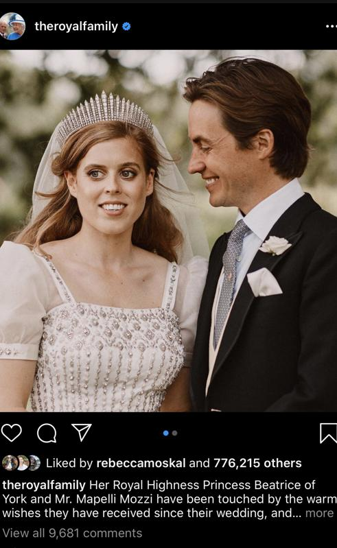 Princess Beatrice wearing Queen Mary diamond fringe tiara following her marriage
