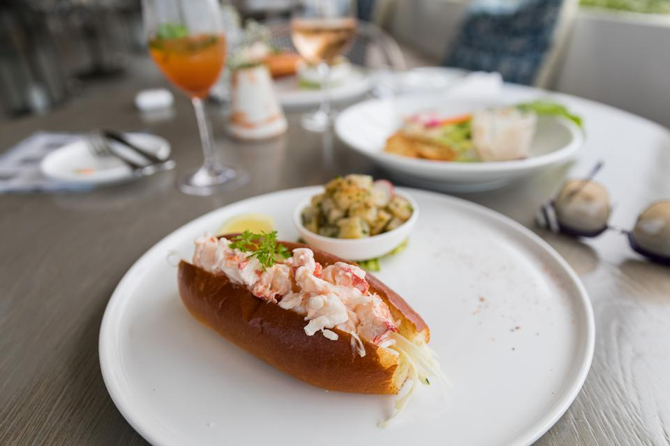 Nantucket, MA - The lobster roll at Galley Beach, it is served with their house-made potato salad.