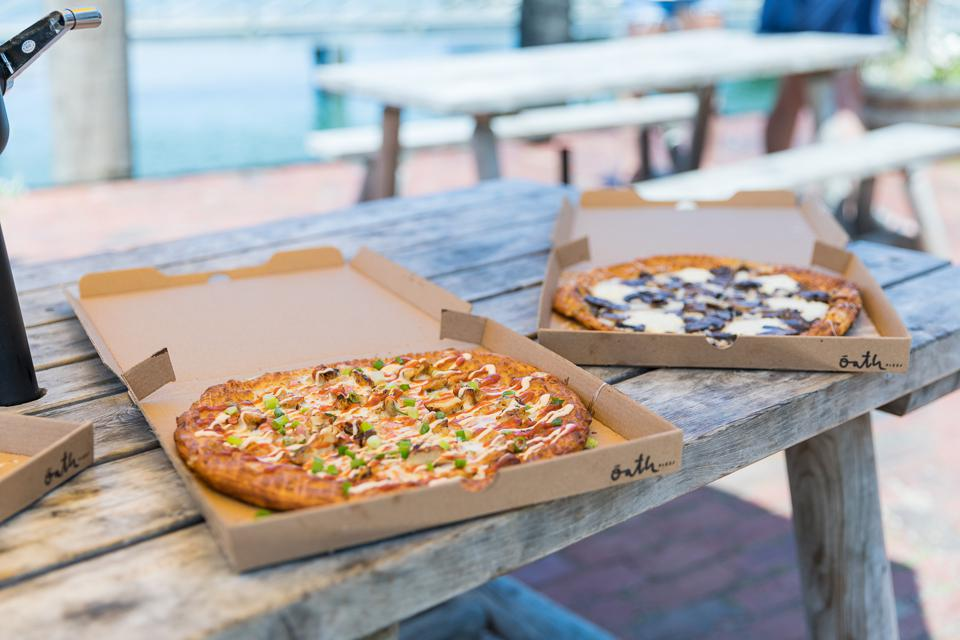 Nantucket, MA - The Spicy Mother Clucker and the Muffled Trushroom pizzas from Oath Pizza