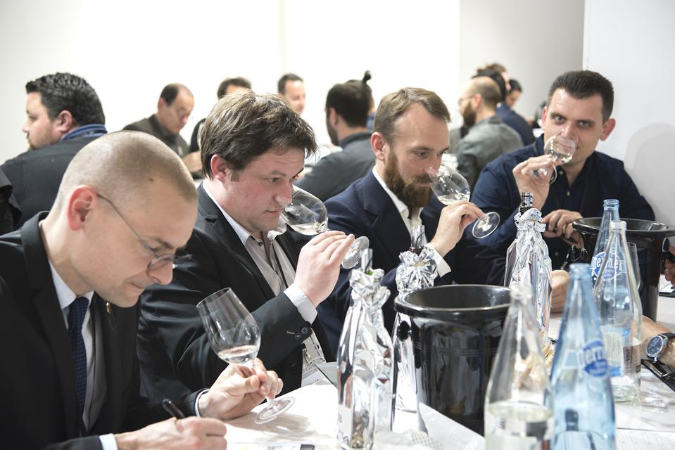 French sommeliers evaluate Japanese sake at the annual Kura Master competition.