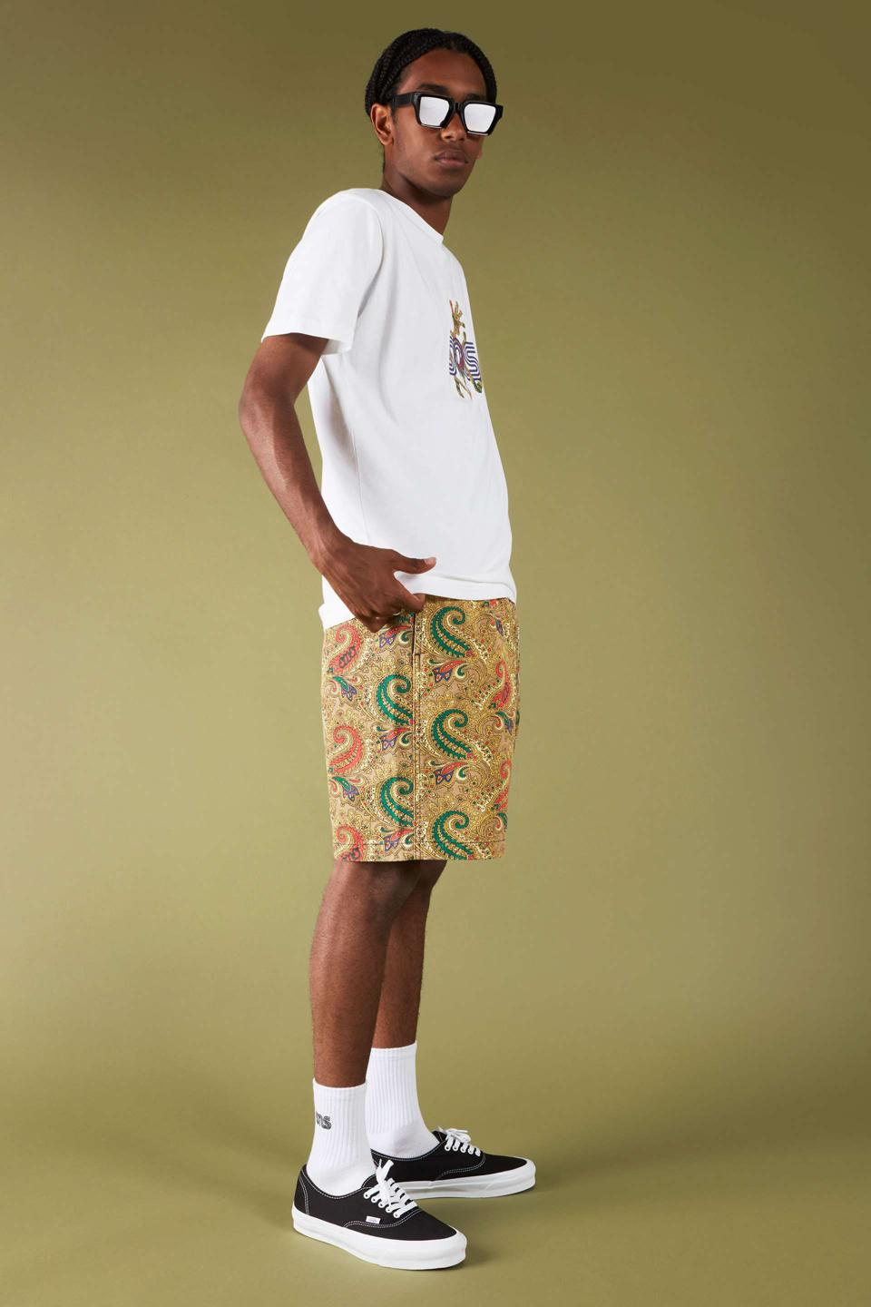 SNS x Gramicci Tee and Paisley G-Shorts, available in three colorways is a colorful, electric injection into any summer wardrobe