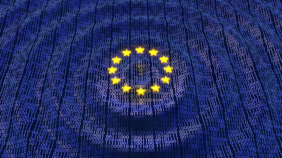 A European flag made of 0s and 1s with waves emanating from the center